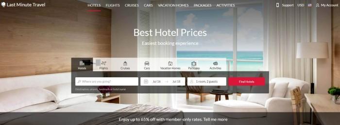 lastminutetravel.com hotel room